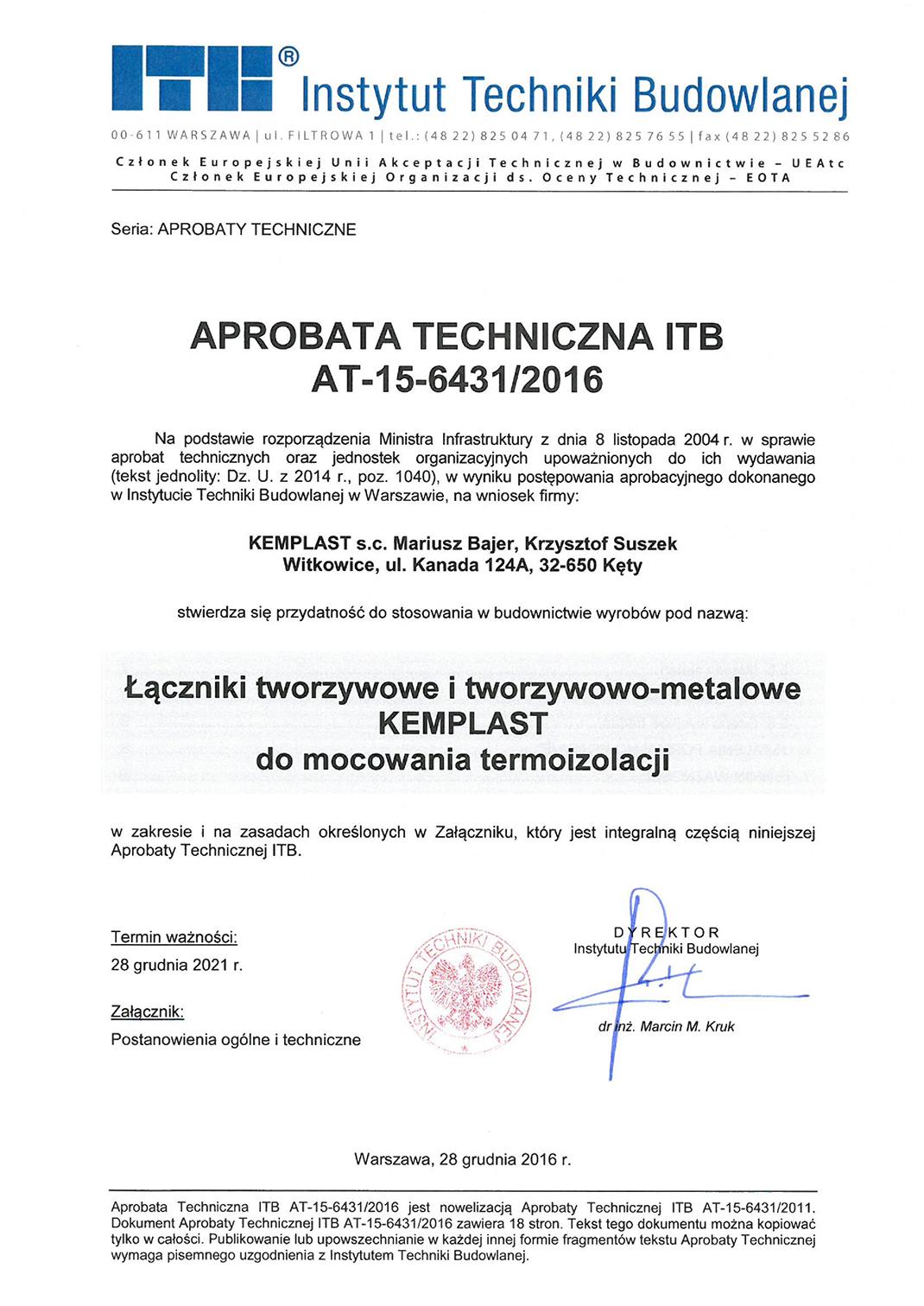 Aprobata techniczna ITB AT-15-6431/2016