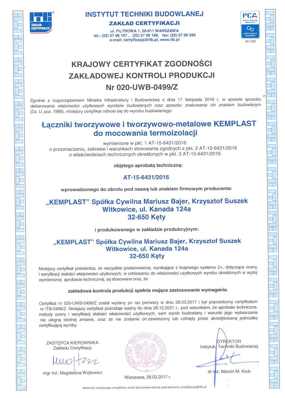 Krajowy certyfikat zgodności zakłądowej kontroli produkcji nr 020-UWB-0499/Z